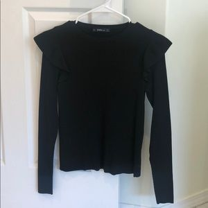 Zara long sleeve black top with sleeve ruffle
